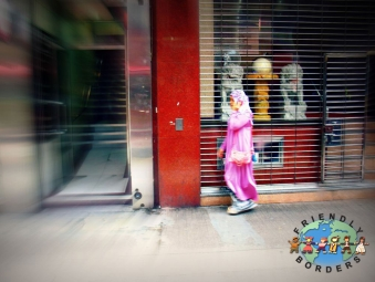 Hui Muslim Hong Konger walks to work in Hong Kong