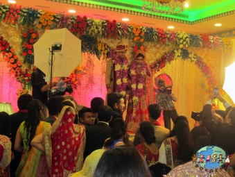 Indian couple at wedding reception