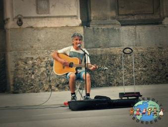 Italian street musician in Milan, Italy