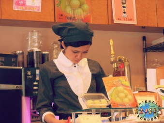 Japanese waitress in a cafe in Ikebukuro district of Tokyo