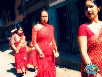 Nepali women in Kathmandu on their way to a celebration