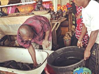 Men sell fish at a market in Abuja, Nigeria