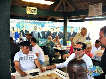 Cubans playing dominos on Calle 8 in Little Havana, Miami