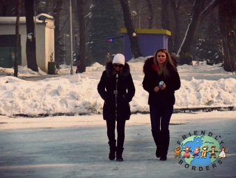 Young women on their way to work on a cold winter day in Almaty, Kazakhstan