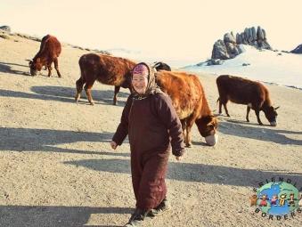 A Mongolian nomadic woman near the Gobi Desert