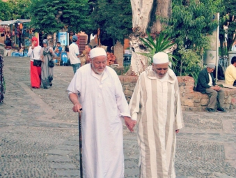Two old men walking in Chefchaou